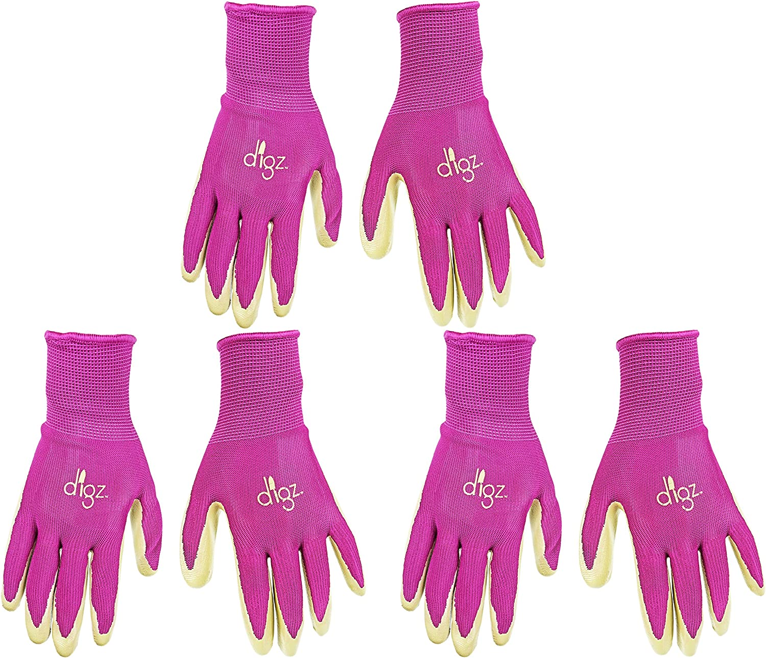 Set of 3 Long Cuff Digz Grip Planter Women's Small Synthetic Leather Palm All Purpose Work/Garden Gloves - Comfort Fit!