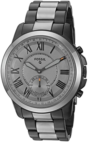 Fossil Q Mens Grant Stainless Steel Hybrid Smartwatch, Color: Grey (Model: FTW1139)
