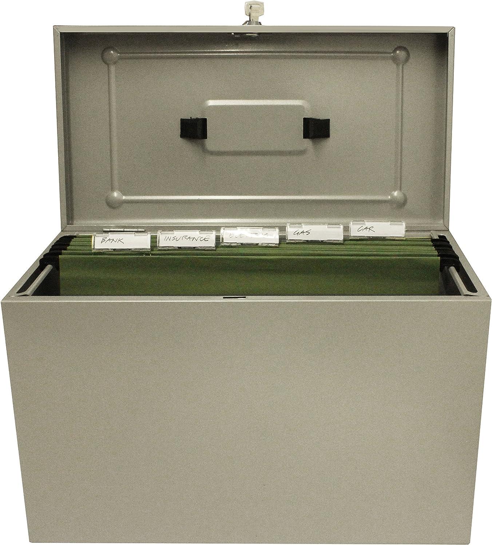 Caja archivadora de metal, tamaño folio, color gris: Amazon.es: Oficina y papelería