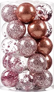 """SY CRAFT 70mm/2.76"""" Christmas Ball Ornaments Shatterproof Clear Plastic Christmas Decoration Xms Balls Baubles Set with Stuffed Delicate Decorations(25 Counts,Rose Gold)"""