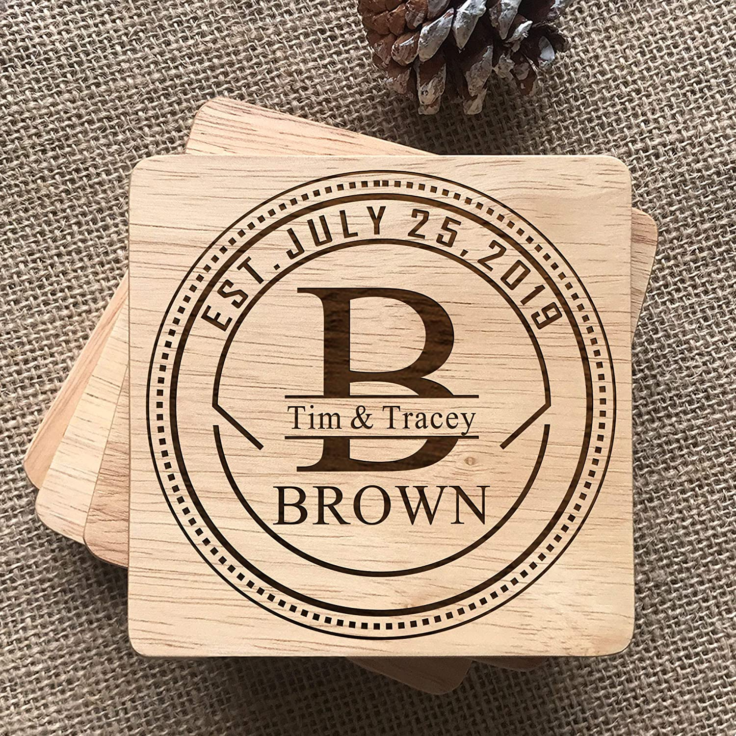 Parents 4x4 Set of 4 Grandparents Holiday Housewarming Birthdays Personalized Coasters Wooden Custom Engraving Coaster Gifts for Wedding