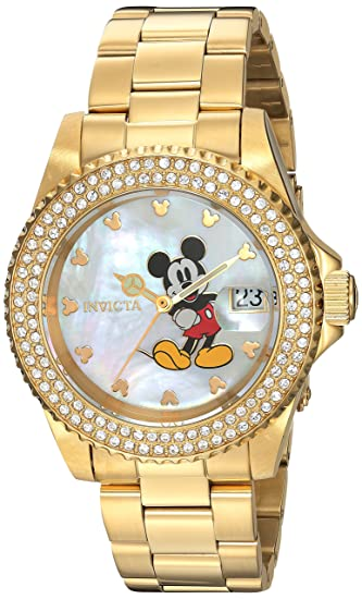 Amazon.com: Invicta Womens Disney Limited Edition Quartz Stainless Steel Casual Watch, Color Gold-Toned (Model: 24751): Invicta: Watches