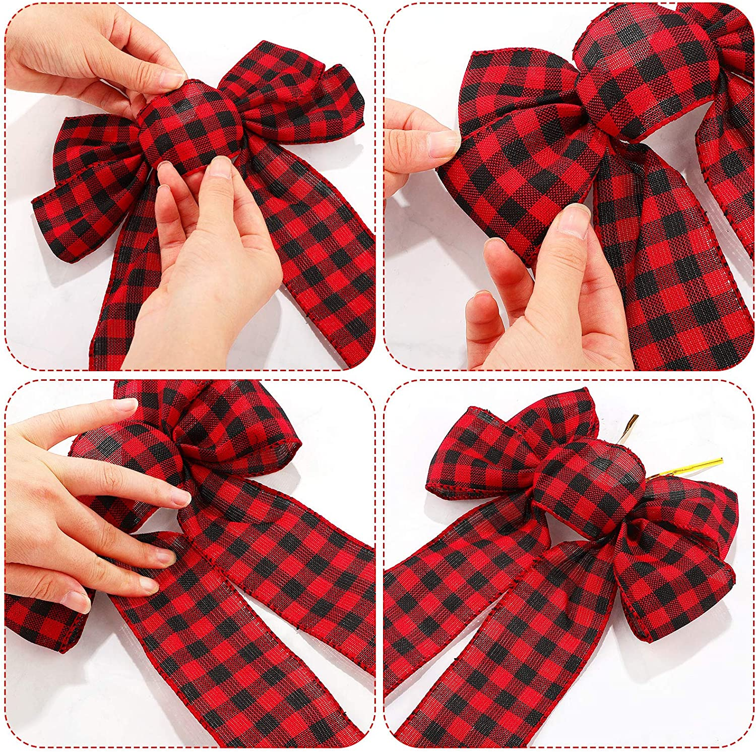 WILLBOND 6 Pieces Christmas Red Buffalo Plaid Bows Ornaments Christmas Tree Bows Christmas Wreath Bow for Christmas Outdoor Decorations