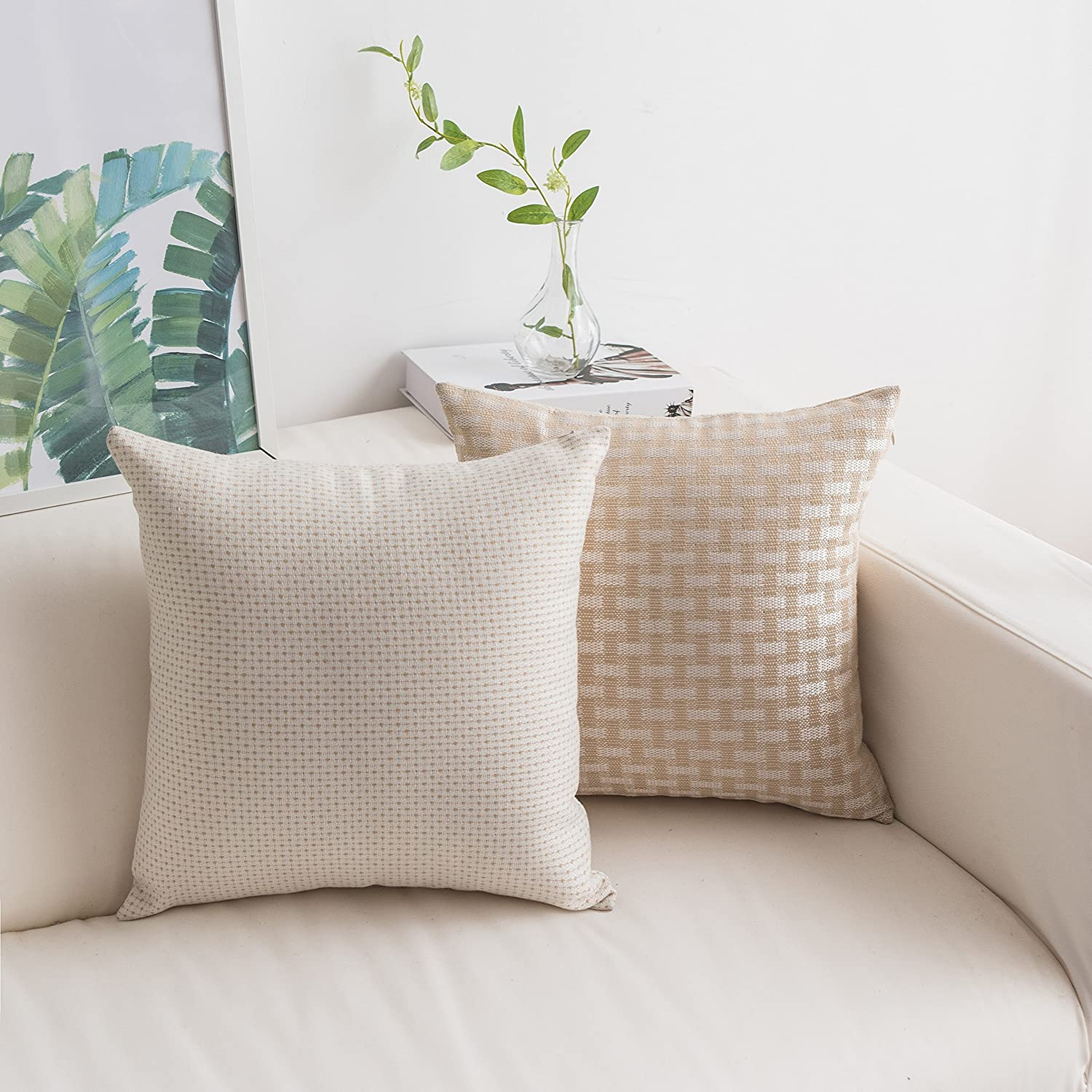 HOME BRILLIANT Pack of 2 Modern Farmhouse Checker Plaids Throw Pillow Covers Decorative Textured Square Accent Cushion Covers Set for Sofa, 18 x 18 inches(45cm), White Beige