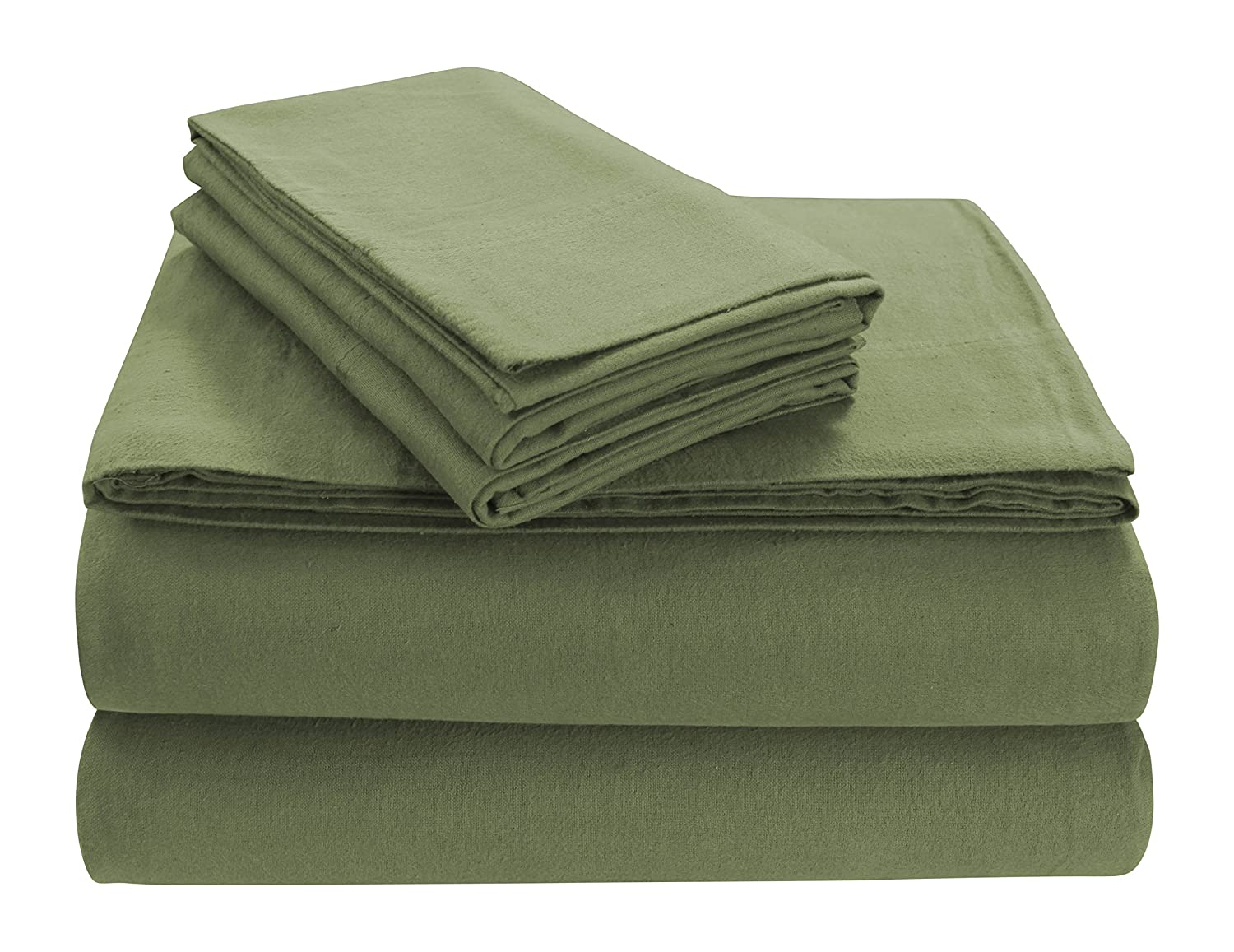 Green Full Sheet Set Tribeca Living SOLFL170SSTWSG Solid 5-Ounce Flannel Extra Deep Pocket Sheet Set Twin Silver Grey,
