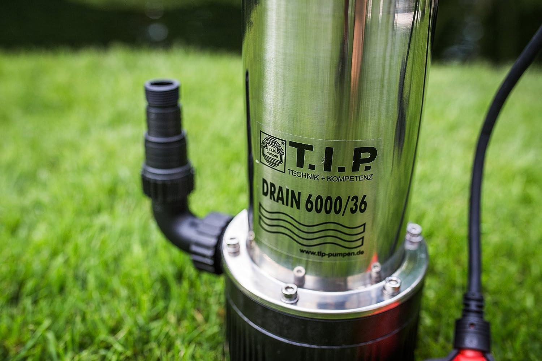 T.I.P 30136 Tauchdruckpumpe Drain 6000//36 950 W, max. 6.000 l//h, 34m F/örderh/öhe, Fremdk/örper bis 2 mm, Stufenlos h/öhenverstellbarer Schwimmerschalter
