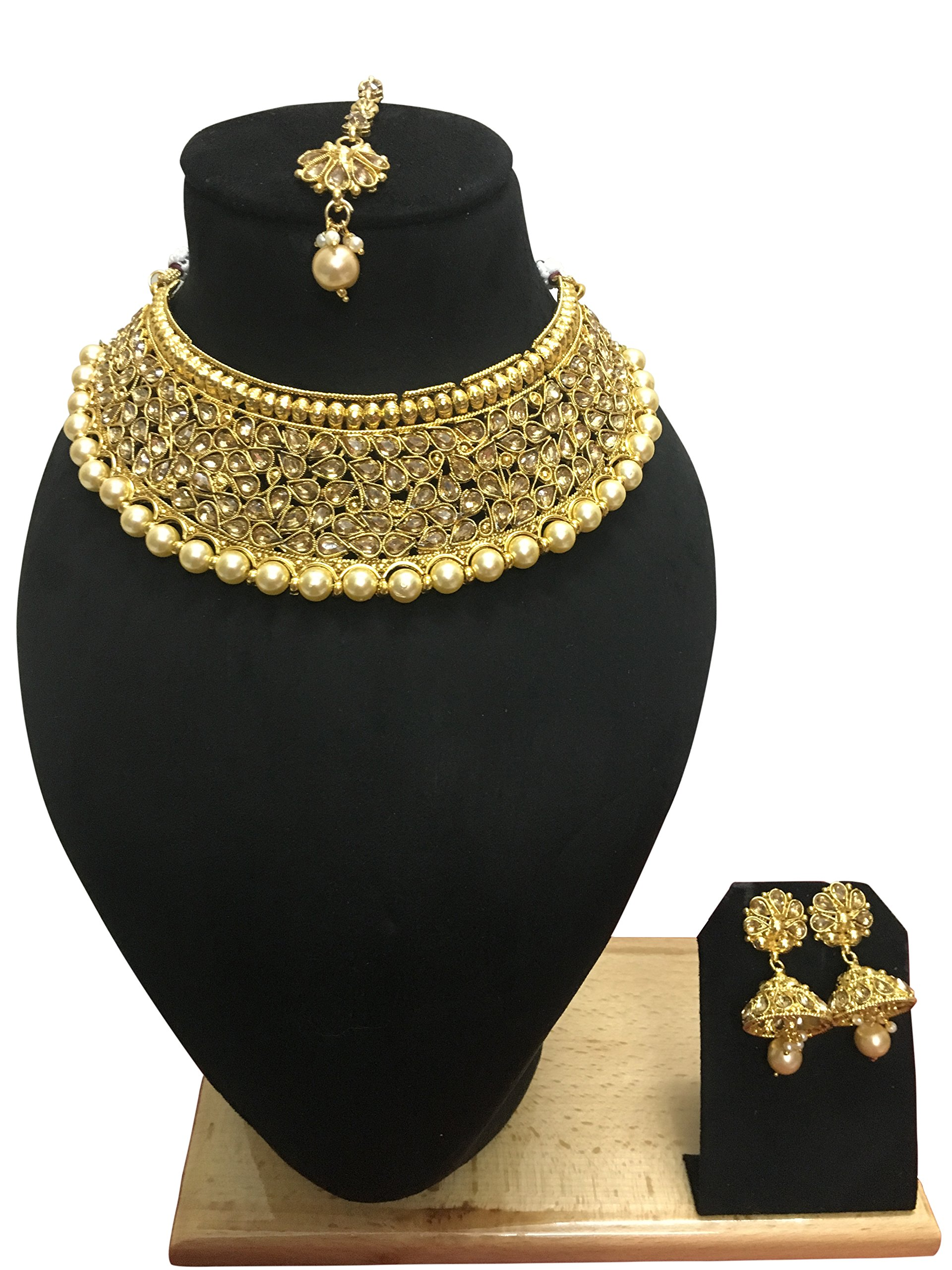 CROWN JEWEL Indian Bollywood Style Gold Plated Wedding Fashion Bridal Jewelry Necklace Earrings Set For Women (Gold)