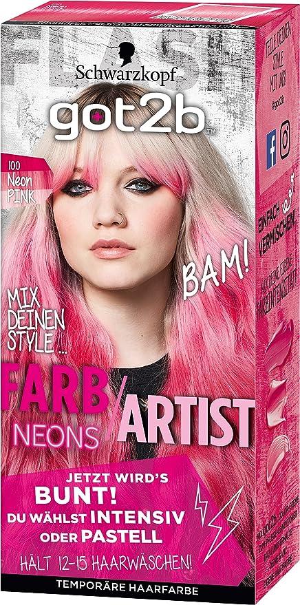 Tinte para el cabello Schwarzkopf Got2b, color 100 rosa neón, 1 unidad (80 ml).