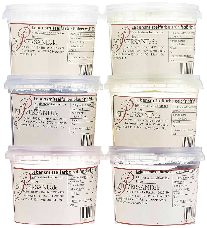 Pati-Versand Lebensmittelfarbe fettlöslich, 6er Set, 1er Pack ...