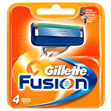 Gillette Fusion - Recambios de maquinilla de afeitar para hombre - Pack de 4 recambios