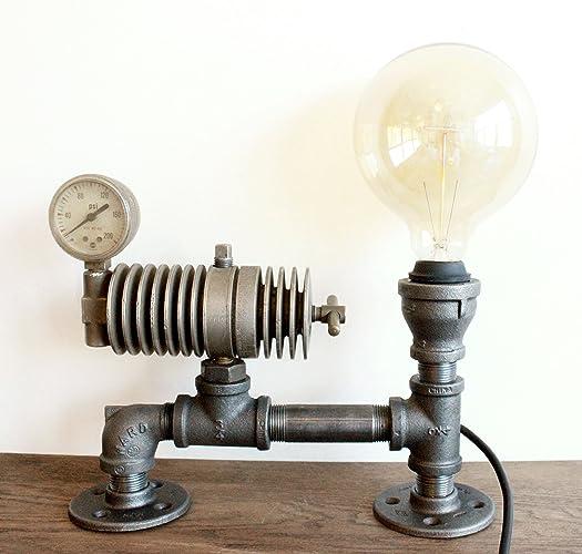 Steampunk Lamp Table Lamp W/ Gauge Steampunk Lighting, Industrial Pipe  Decor, Vintage Light