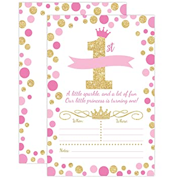 Amazoncom Princess Birthday Invitations Girl First Birthday