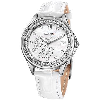 2bf43178c9b Comtex Femmes de Mode Diamant Montres à Quartz Analogique avec Date Bracelet  Blanc en Cuir Papillons