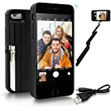 "StikBox Selfie Stick iPhone Case, Extendable Monopod W/ Built-in Bluetooth Trigger, Lightweight, Rechargeable, Wireless, Pocket Size, 360 degree rotation & 20"" Extension for iPhone 7/7S/8 (IPE7BLACK)"