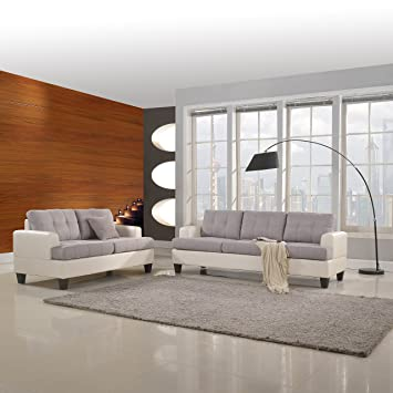 black and white leather living room set modern classic tone linen fabric bonded sofa furniture