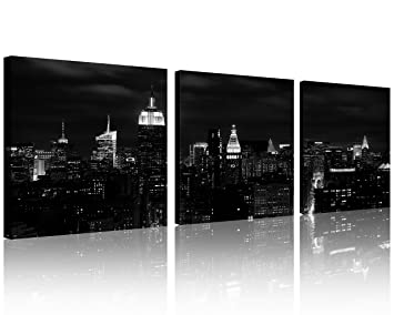 QICAI Wall Art Painting Beautiful New York City Skyline Black U0026 White  Prints On Canvas New