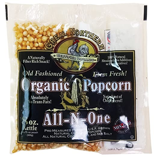 Certified Organic 8 Oz Old Fashioned Great Northern Popcorn