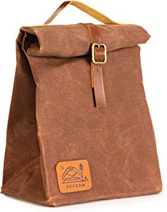 Waxed Canvas Lunch Bag - Top Quality, Insulated, Reusable Sandwich/Lunch Sack for Adults & Kids - Men, Women, Boys & Girls