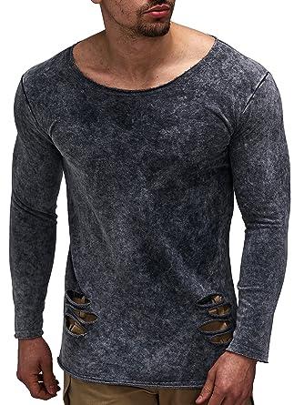 LEIF NELSON Herren Pullover Hoodie Sweatshirt Longsleeve Rundhals Langarmshirt Top Basic Shirt Crew Neck Vintage LN06261
