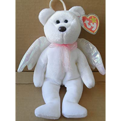 TY Beanie Babies Halo Angel Bear Stuffed Animal Plush Toy - 8 1/2 inches tall - White with Wings and Scarf: Everything Else