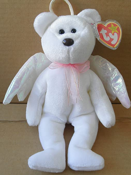 Amazon.com  TY Beanie Babies Halo Angel Bear Stuffed Animal Plush Toy - 8  1 2 inches tall - White with Wings and Scarf  Office Products b2b219a4f65f