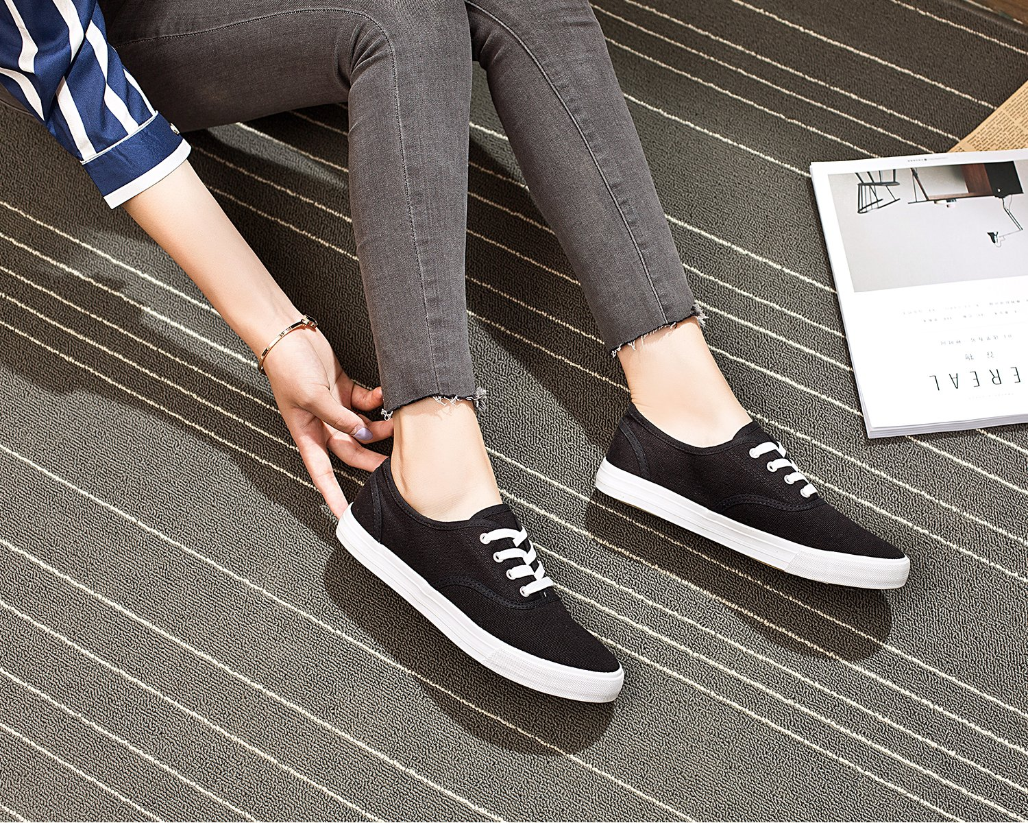 e2123b0d79551 ZGR Women's Slip On Canvas Loafer Shoes Fashion Low Cut Sneakers ...