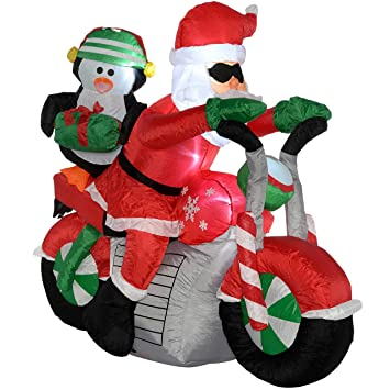 werchristmas pre lit santa motorcycle inflatable christmas decoration with led lights and fan 150 - Large Inflatable Christmas Decorations