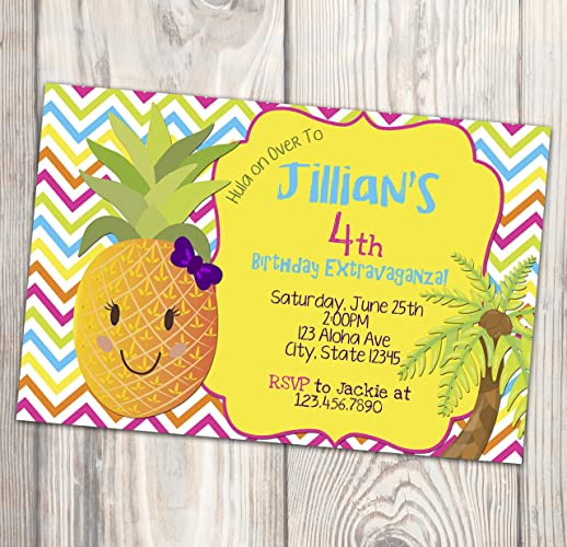 Amazon Com Hawaiian Luau Birthday Invitation Pineapple Hula Party