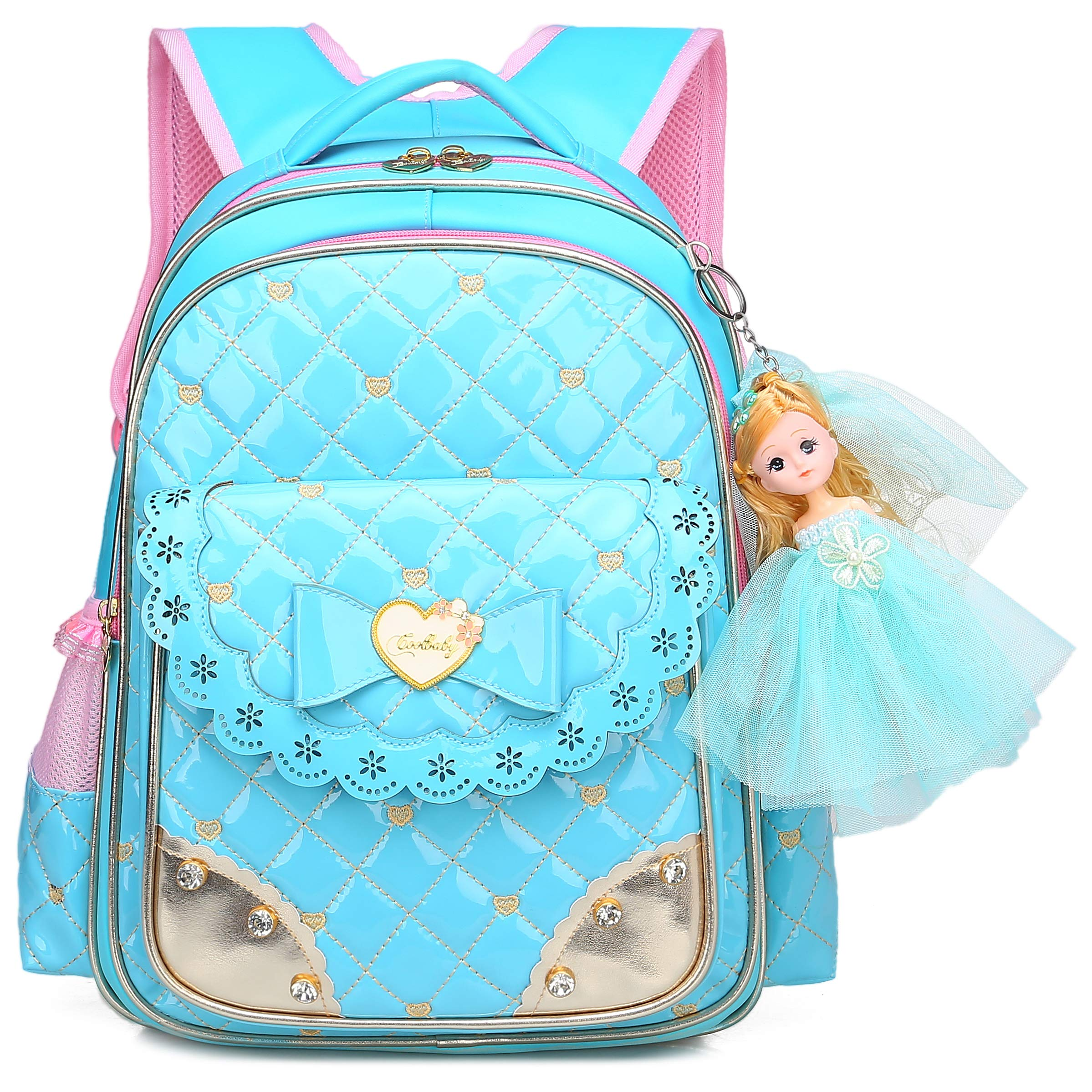 Cute Waterproof Backpacks for Girls Princess Style Schoolbag Bookbags (Large, Blue)