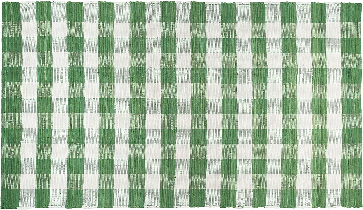 GLAMBURG Cotton Reversible Area Rug 3' x 5' Farmhouse Floor Mat, Washable Carpet Checkered Plaid Rug for Front Porch Living Room Kitchen Bedroom - Green White