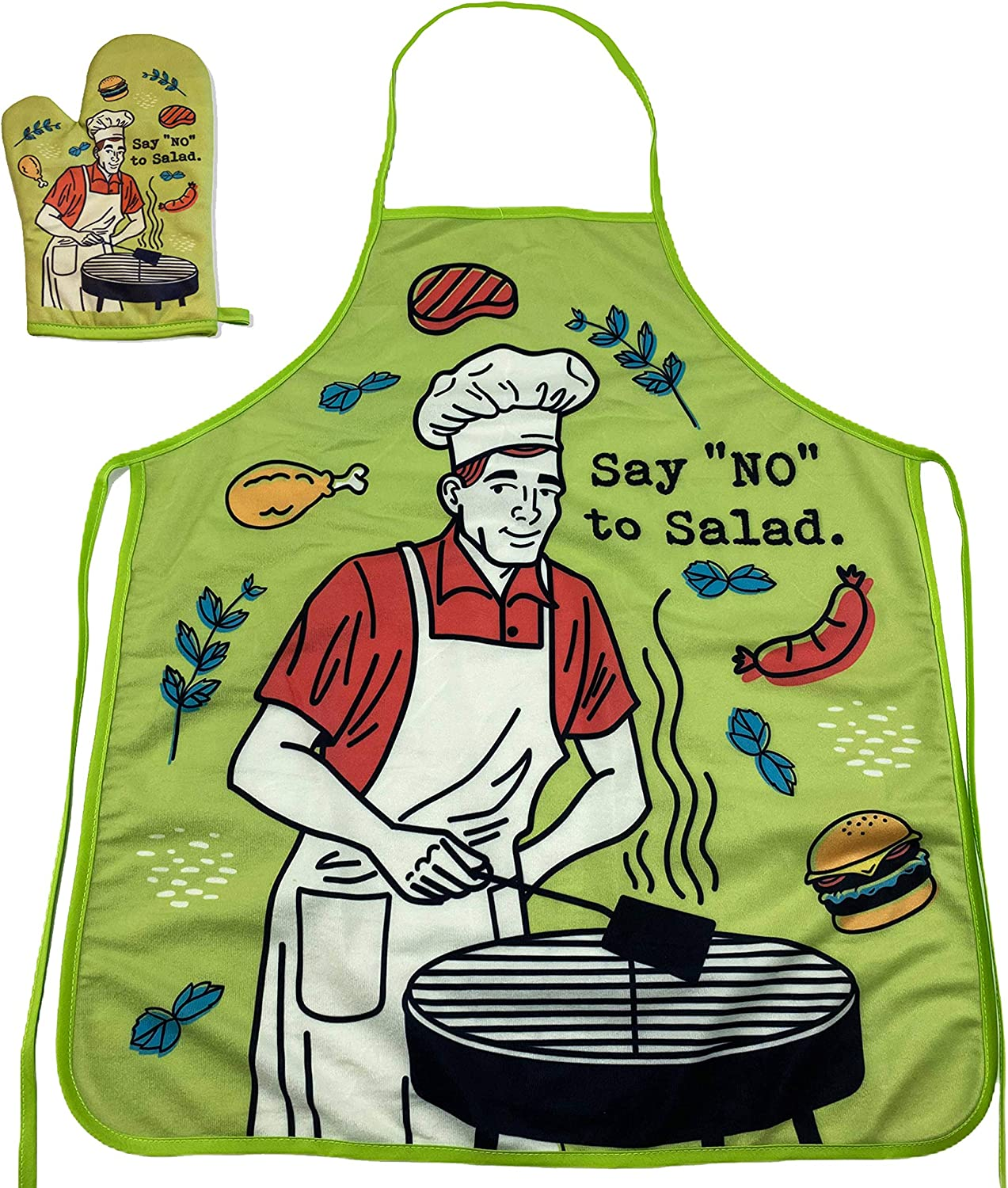 Crazy Dog T-Shirts Say No to Salad Funny Back Yard Bar-B-Que Meat Graphic Kitchen Accessories (Oven Mitt + Apron)