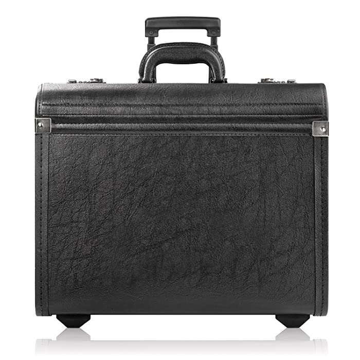 Solo New York Lincoln Rolling Catalog Case with Dual Combination Locks, Two Wheeled Catalog Case for Men and Women, Black