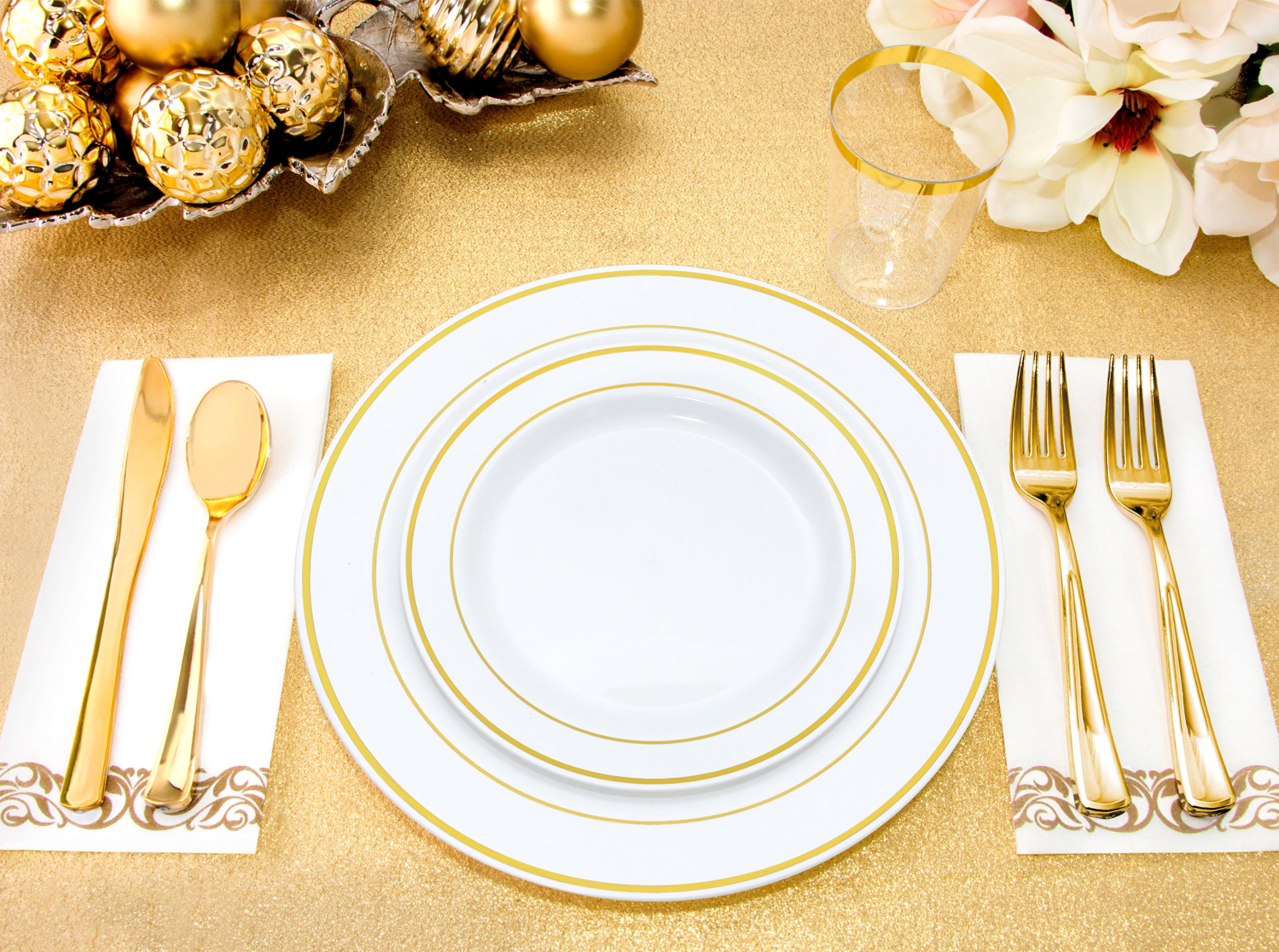 25 Guest Disposable Gold Dinnerware Set | Heavy Duty Plastic Plates, Cups, Silverware & Napkins. 50 Forks, 25 Spoons, 25 Dessert Spoons, 25 Knives, 25 Dinner Plates, 25 Dessert Plates, 25 Soup Bowls by BloominGoods (Image #2)