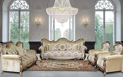 Amazon Com European Furniture 3 Pieces Tiziano Luxury Sofa Set