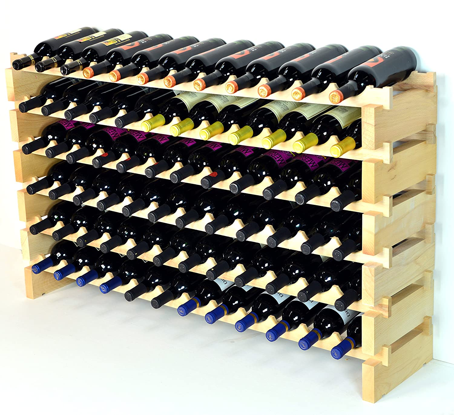 amazoncom stackable wine rack bottles modular hardwood wine  - amazoncom stackable wine rack bottles modular hardwood wine racksvery easy to put together kitchen  dining