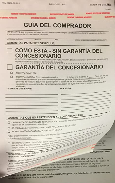 Amazon.com : Spanish Buyers Guide, Used Car Dealer Disclosure Form, 100 Qty. (A53) : Office Products