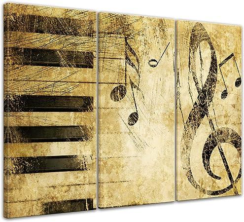 Bilderdepot24 Cuadros en Lienzo Música de Grunge - 150 x 90 cm 3 Piezas - Listo tensa, Directamente Desde el Fabricante: Amazon.es: Hogar