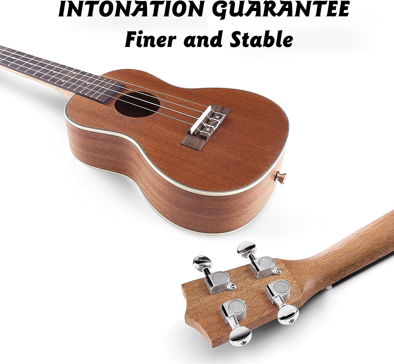 Black FUYXAN Soprano Ukulele Starter Kit 21 Inch Hawaiian Guitar Musical Instrument Kit with Ukulele Tuner Pick Booklet for Beginners Students Kids Adult Strings Strap +Carrying Bag