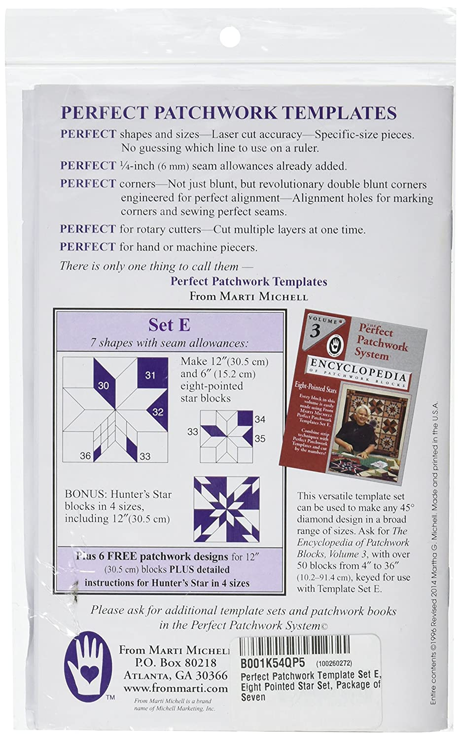 Marti Michell Perfect Patchwork Template Set E Eight