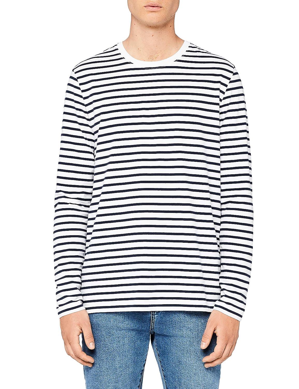 MERAKI Mens Cotton Regular Fit Striped Long Sleeve T-Shirt
