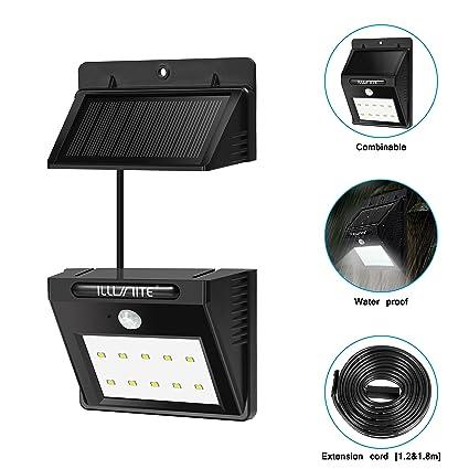 ILLUNITE Solar 10 LED Lámpara Desmontable Seguridad Solar Impermeable con Senosr de Movimiento, Lámpara de