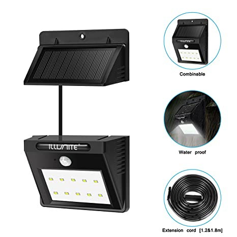 ILLUNITE Solar Light Bright 10 LED Waterproof Motion Sensor Security  Detachable Design Light For Indoor,