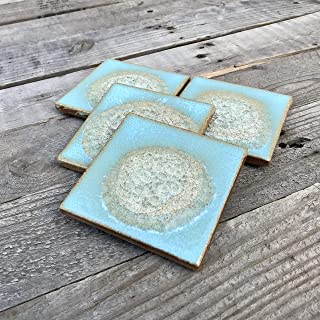 product image for Geode Crackle Coaster Set of 4 in Pale Sky, Geode Coaster, Crackle Coaster, Fused Glass Coaster, Crackle Glass Coaster, Agate Coaster, Ceramic Coaster, Dock 6 Pottery Coaster