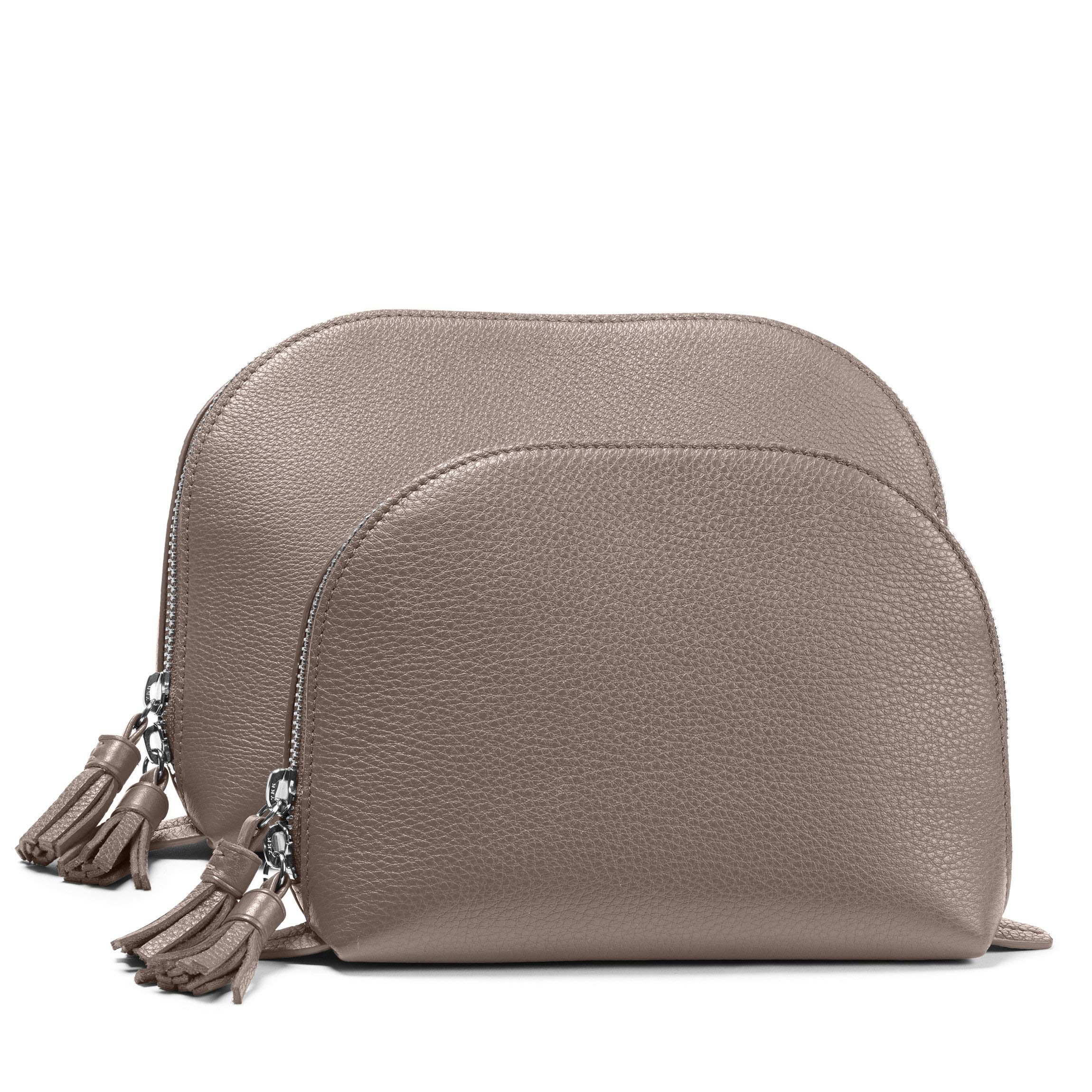 Clamshell Makeup Bag Set - Full Grain Leather Leather - Taupe (Beige) by Leatherology (Image #1)