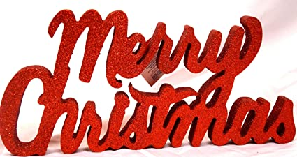 merry christmas sign table top or hanging red with sparkly glitter decoration large 14 inch