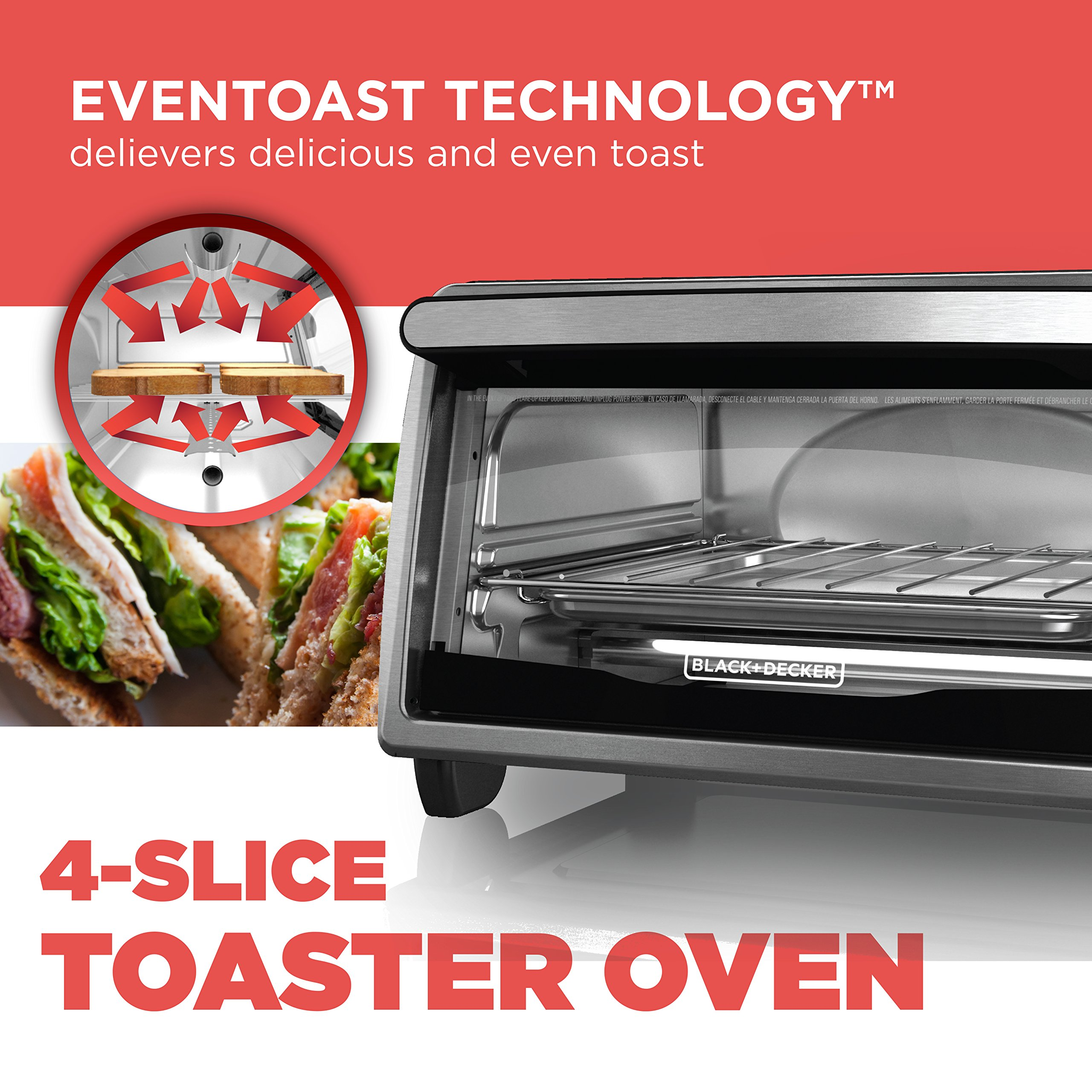 BLACK+DECKER 4-Slice Toaster Oven, Stainless Steel, TO1303SB by BLACK+DECKER (Image #2)