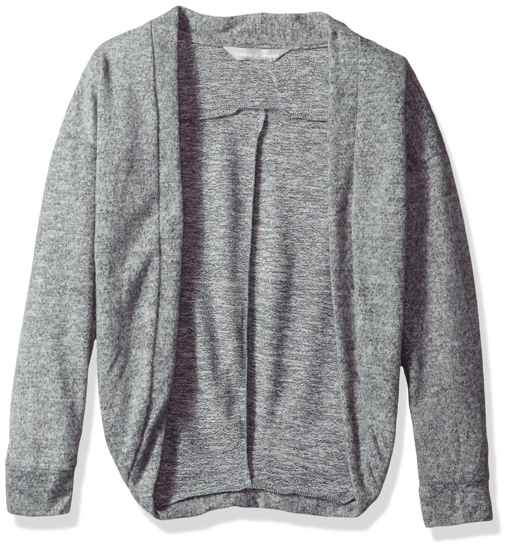 Harmony and Balance Big Girls' Long Sleeve Sweater Knit Top, Heather Gray, 7/8