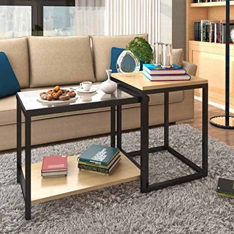 Amazoncom Lifewit 2piece Side Table Nesting Table Accent Table