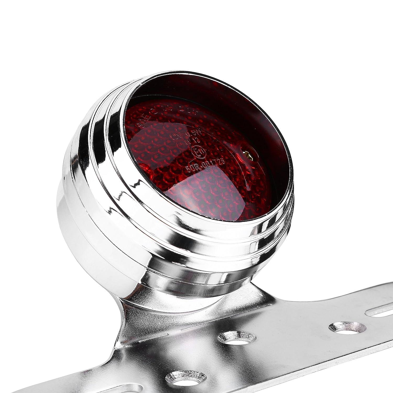 lampadina rossa per arresto freno freno coda per Chopper Bobber Fanale posteriore black