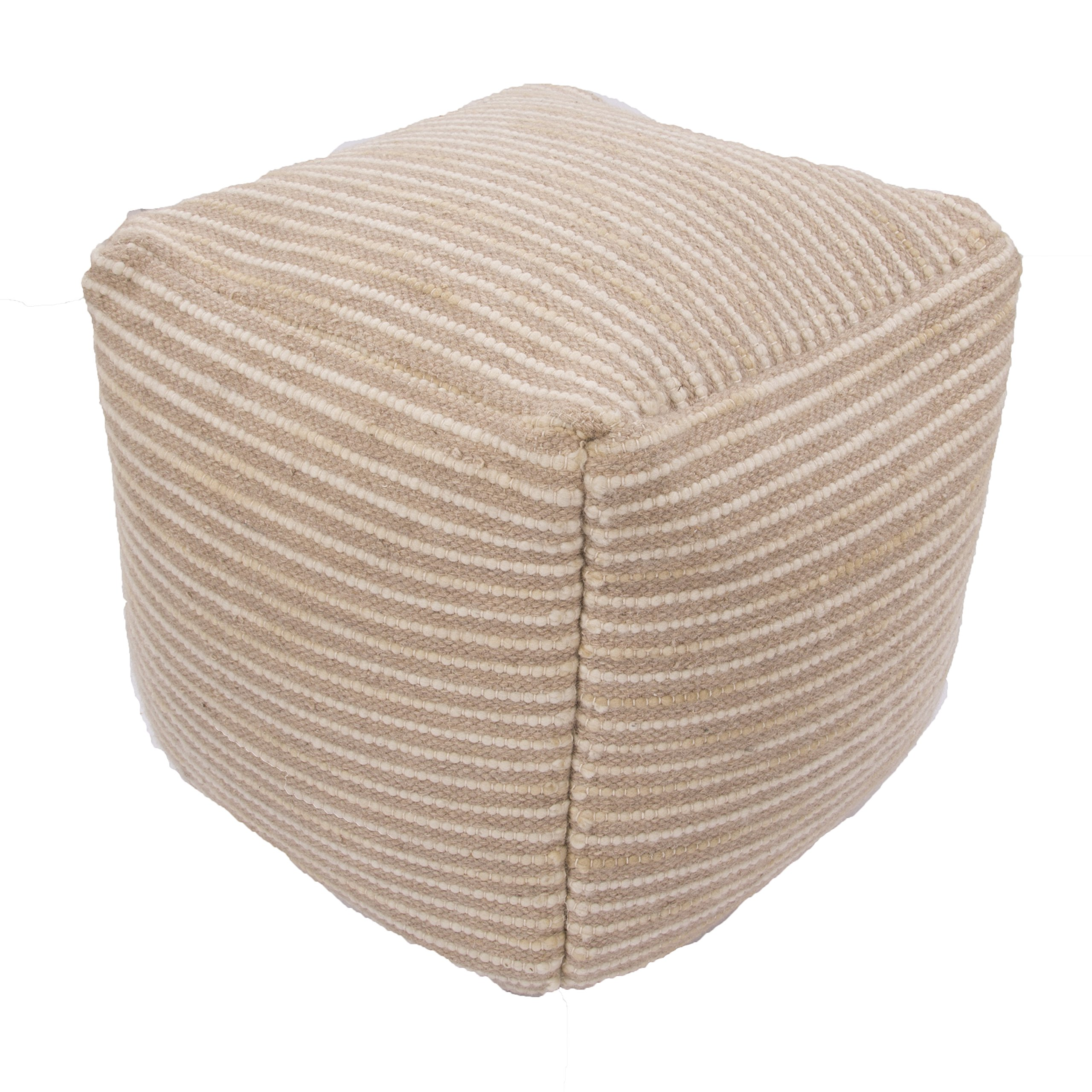 Jaipur Textural Pattern Tan Wool and Cotton Pouf, 18-Inch x 18-Inch x 18-Inch, Sand Shell Almi